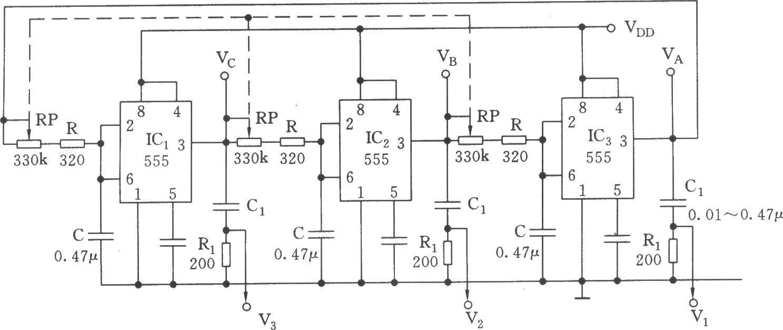 如图所示,这是由三个相同的施密特触发器组成的闭环回路,首尾相接。每个触发器的延时为td=l.1(RP+R)C,延时td即C上的电压升到1/3 VDD所需要的时间。而555复位后,C上的电荷是通过R、W对前一级IC的输出端(3脚)进行灌电流放电的,因而与C的充电时间常数一样。因此,每个触发电路的输出端每改变一次要经过三个单稳触发电路传输,所需时间是3td。故每个IC的输出周期Td=6td。对应的频率