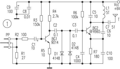 图1是该无线耳机的发射电路,经立体声耳机插头pp从电视机耳机插孔图片