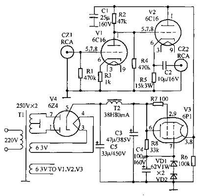 性能优良的6c16胆前级电路