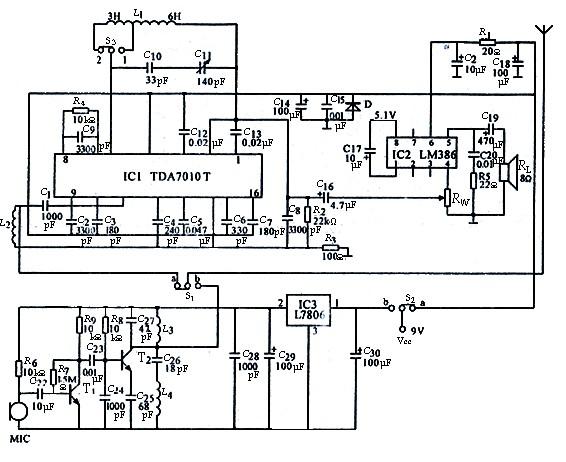 实验型tda7010单工调频对讲机电路