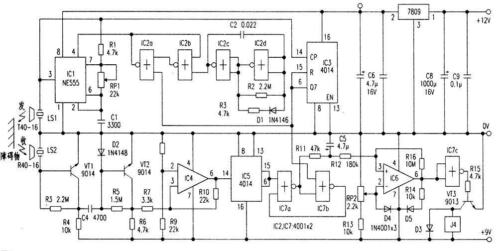 汽车倒车防撞报警器电路见图所示,包括超声脉冲发射电路和超声接收电路,探测距离为5米。  汽车倒车防撞报警器电路图(点击图片可放大) IC2采用四2输入端或非门CD4001,其中IC2c,IC2d组成低频脉冲发生器,IC2a、IC2d组成双稳态电路。IC2a的输出加至ICl(555)的复位端脚,即在稳态低电平期间使555处于强制复位状态。ICl与R1、RP1、C1组成无稳态多谐振荡器,在IC2a高电平输出时起振,振荡频率f=1.44/(R1+RP1)C1,图示参数对应的频率为25kHz~150kHz,调节R