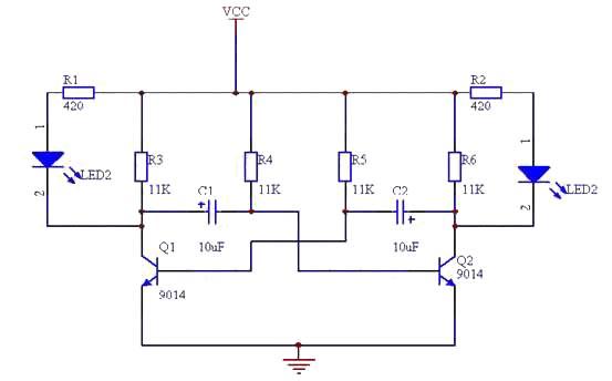 两只三极管组成的互补对称无稳态振荡器