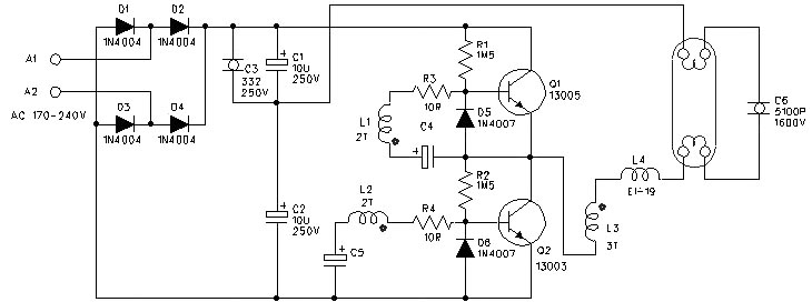 一种简单的40w日光灯电子镇流器电路