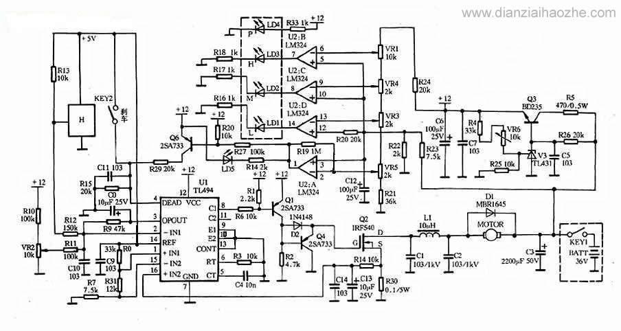 36v电动车电机调速控制器电路图