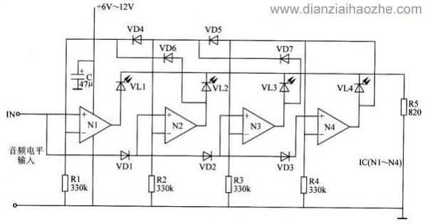 两种显示方式的led电平指示器电路