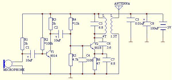 9018电容三点式振荡调频话筒电路
