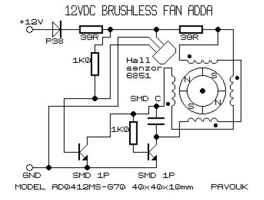 电脑机箱内少不了大小几个散热风扇,电源盒里一个散热风扇、CPU一个散热风扇、显卡一个散热风扇,机箱上一般也有散热风扇。下面给出两款12V散热风扇无刷电机驱动电路 电源、机箱散热风扇电机驱动电路(两引线,无检测端口)  CPU散热风扇电机驱动电路(三引线,带检测端口)