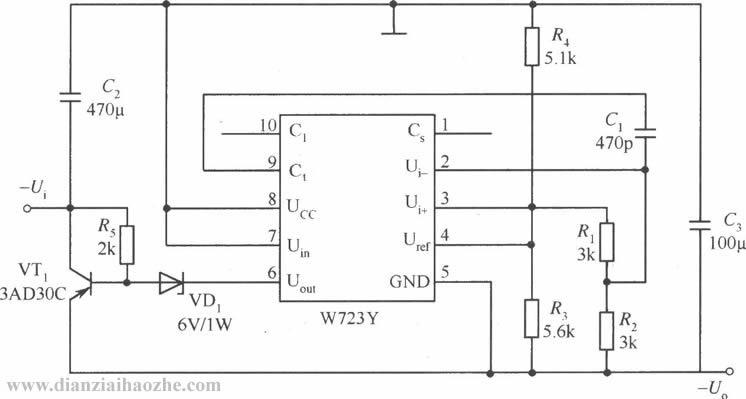 w723高压限流型保护应用电路