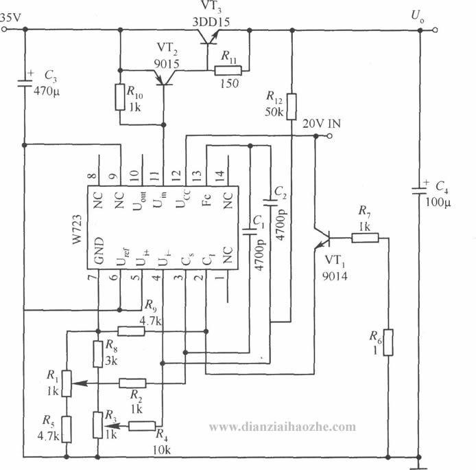 提高W396/W496输出稳定度的应用电路(一)  W396/W496组成的输出电压可调的应用电路  提高W396/W496输出稳定度的应用电路(二)  W723构成的输出电压和电流均可调的应用电路 如图所示是用W723多端可调式正集成稳压器组成的可调电压、电流的应用电路。输出电压Uo=0~25V,输出电流Io=0~1A。工作在电压型状态时,稳定性为0.
