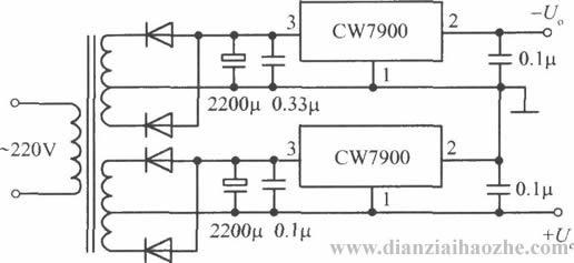 CW7900构成的高输出电压集成稳压电源电路之二  CW7900构成的高输出电压集成稳压电源电路之一  CW7900构成的高输入电压集成稳压电源电路之二  CW7900构成的高输入电压集成稳压电源电路之一  CW7900构成的正、负输出电压集成稳压电源电路之二  CW7900构成的正、负输出电压集成稳压电源电路之一