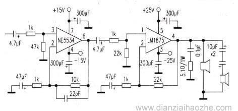 ne5534 lm1875构成的20w高保真功放电路