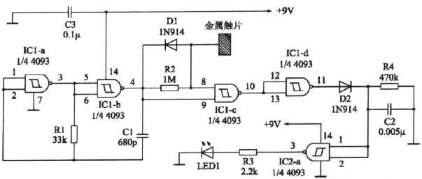 控制类 文章 单金属片触摸开关;电阻桥触摸开关  图1所示的电路只使用