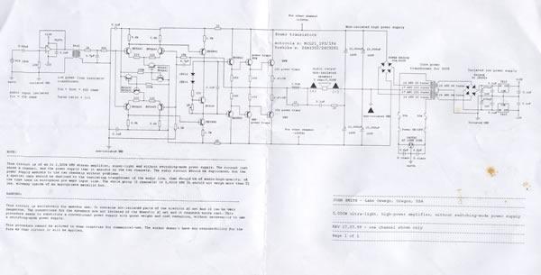该电路是一个2×2500瓦功率的立体声放大器,电路只是显示了一个信道,另一个通道需要制作相同的电路,但电源可以共用。该电路没有使用开关电源,这简化了电路。警告:电路带有危险电压! 前置放大器和功率放大器之间的音频耦合变压器应该选用绝缘强度高的产品,因为它起到隔离危险电压的作用,同时它的音频特性也很重要,要保证从前置放大器输出的信号能够高品质地传输给功率放大器。  点击图片看高分辨率原理图 该电路有未与市电隔离部分,且电路本身也使用正负130伏电压工作,所以该电路应与扬声器整体组装使用,保证与外