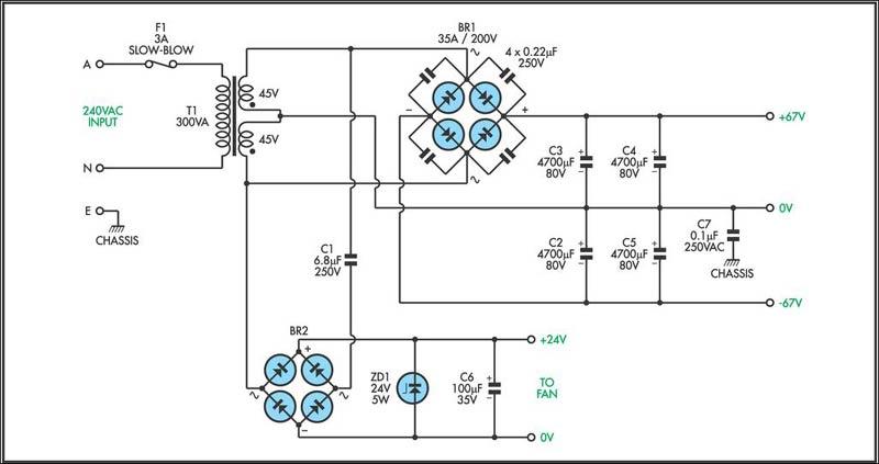 一个紧凑的音频功率放大器,或用作通用低音炮,或高保真放大器。末级采用四只场效应管,工作电压67伏正负双电源。额定功率输出为140W到8W,200W到4欧姆。频率响应是在1dB以内从20Hz至80kHz。总谐波失真小于0.1%,全功率信号噪声比高于100dB。