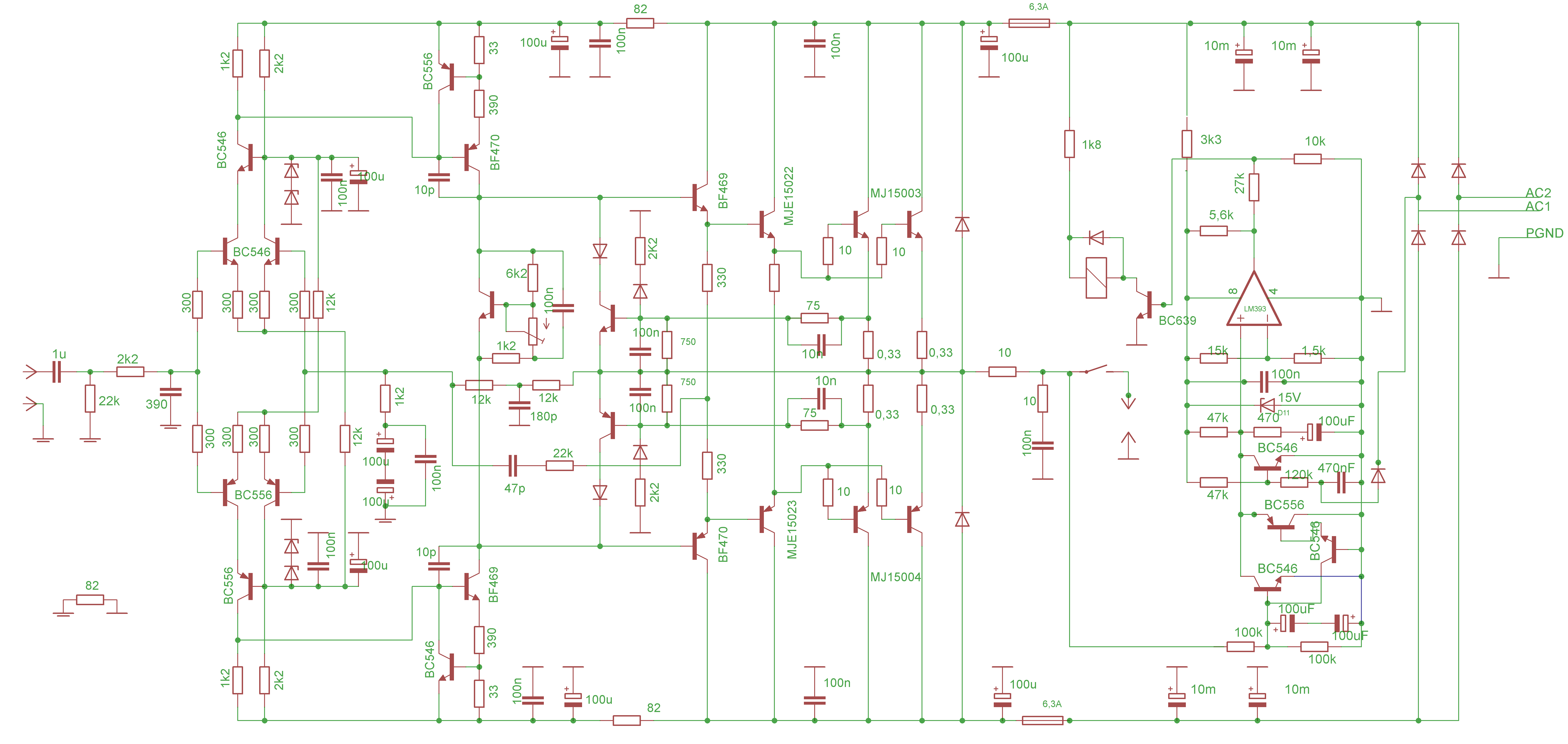 该音频功率放大器的设计包括了电源整流滤波和保护电路,防止放大器输出直流电压和延迟扬声器连接。全部电路被设计到一个电路板上,作为机械设计,可能是复杂的,但它的音质会令你感到欣慰。 技术参数: 输出功率:275W(当电源+-66V) 最小扬声器阻抗:4欧姆 压摆率:35V/us 带宽:8-150000赫兹/-3dB 最大允许电压:+-65V 过滤器容量:2×15G / 80V 直流保护灵敏度:+ /-2V 扬声器延迟连接:2秒 熔断器:2X 6.
