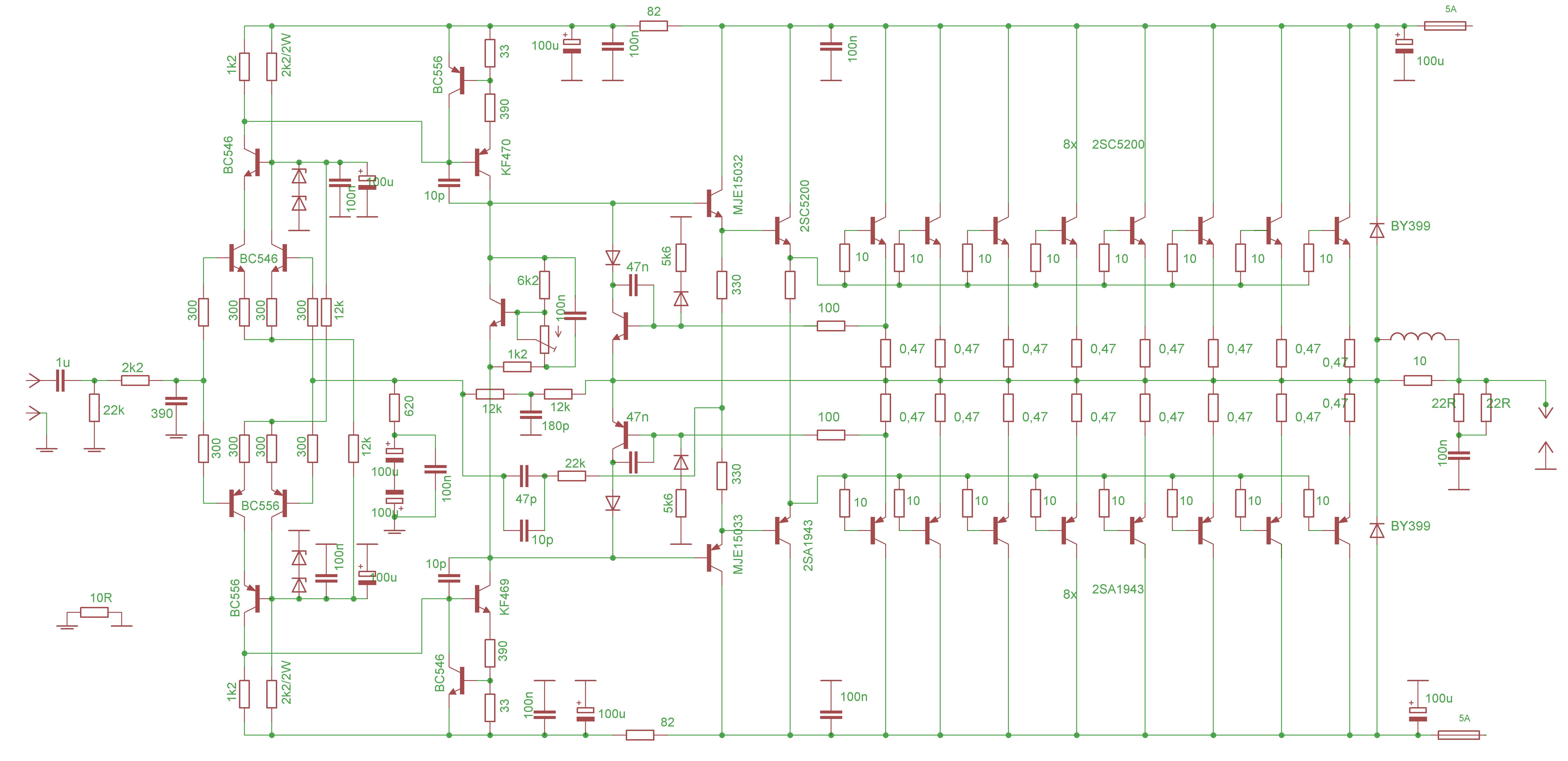 下面的音频功率放大器基于2SC5200和2SA1943输出功率晶体管,可以提供高达700W输出功率。机械设计是比较简单的,晶体管被放置在两个冷却型材上,高度66毫米,宽度44毫米,整体长260mm。晶体管从印刷电路板的底部焊接。  技术参数: