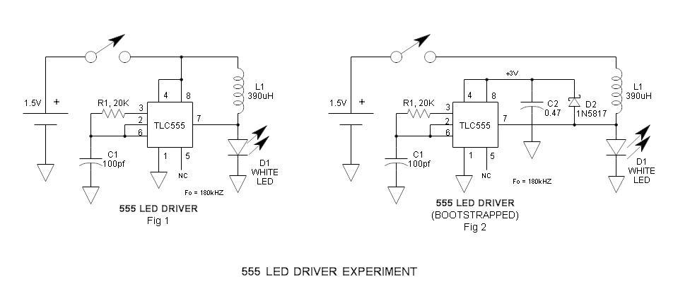 LED驱动器。 这个实验用的场合 在完成近太阳能道路照明评价岩石,和阅读数据表Zetex的zxsc380LED驱动器,我意识到,555是非常相似的,可能也做的工作。我然后测量开路集电极输出之间的连续性(引脚7)和VCC(引脚8)和被发现是没有连续性的积极的轨道–显然是惊喜,集电极开路输出是真正的分离,可以支持高(3V)的感应放电,远远超过的VCC。这是建立在以前的文章:555低电压操作。此外,它总是介意伸展找到新的,为555个振荡器的–555与集电极开路输出的应用是一个最喜欢的无证