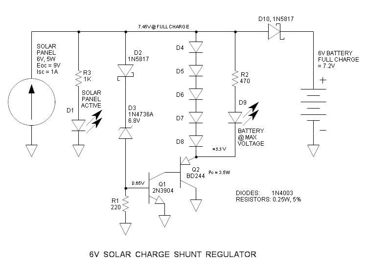 6v的并联型太阳能充电控制器