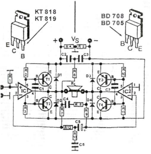 该音频功率放大器可在4到16欧姆扬声器提供高达200W的一流音质。工作电压为24和36V之间,最大5A电流,频率响应是从20到20000赫兹。请把晶体管和集成电路固定牢固,单独安装足够面积的散热器。 散热器注意保持绝缘,不能有任何电气连接!晶体管必须和散热器良好接触并固定牢固!晶体管是这个大功率放大器的重要元件,产生热量比较多。  200W功率放大器的电路原理图 电源应足够强大以满足放大器的功率消耗,最大电流可以高达5A。 该放大器输入灵敏度约500至800mV。因此,连接输出电平较低的声源,有必要预先连