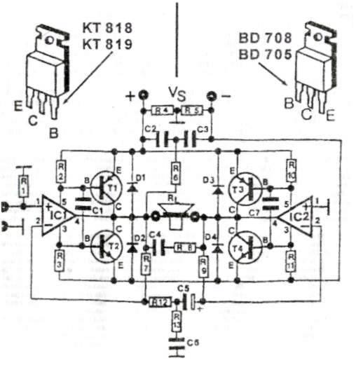 18w音频放大器电路图 晶体管高保真甲类功放