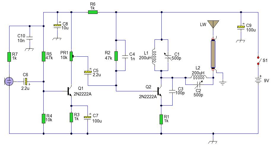 第二晶体管高频振荡器工作在lc谐振频率,并通过长的导线天线发送出去.