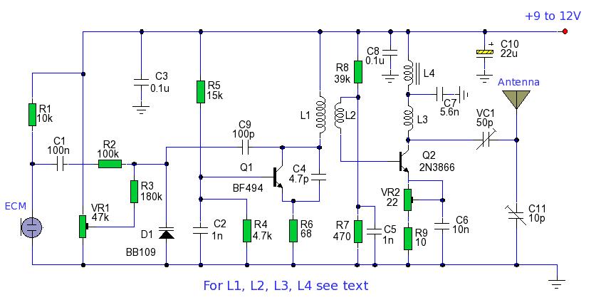 电路包括改变发射器的频率和由音频信号,以提供频率调制.