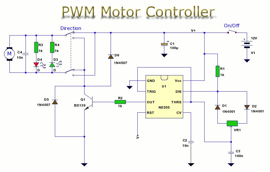 12v电机速度pwm控制电路 国外电子资料 电子爱好者